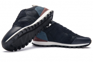 Navy Matt suede leather and textil Shoes
