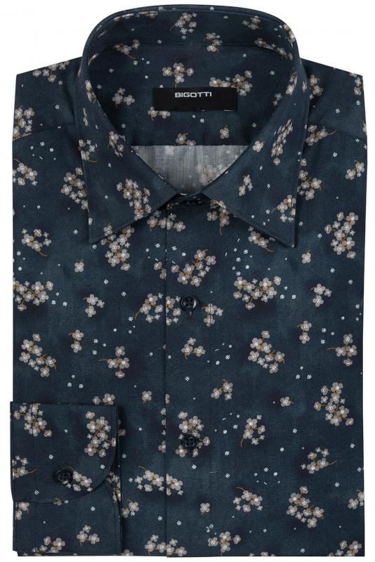 Superslim Blue Floral Shirt