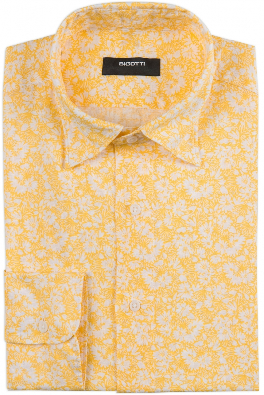Slim Yellow Floral Shirt