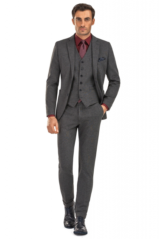 Slim Grey Plain Suit