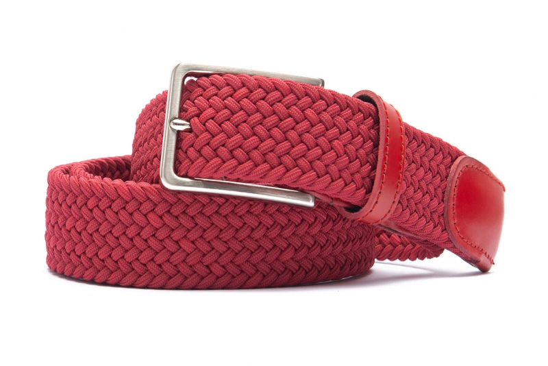 Belt Red Elastic textile and leather
