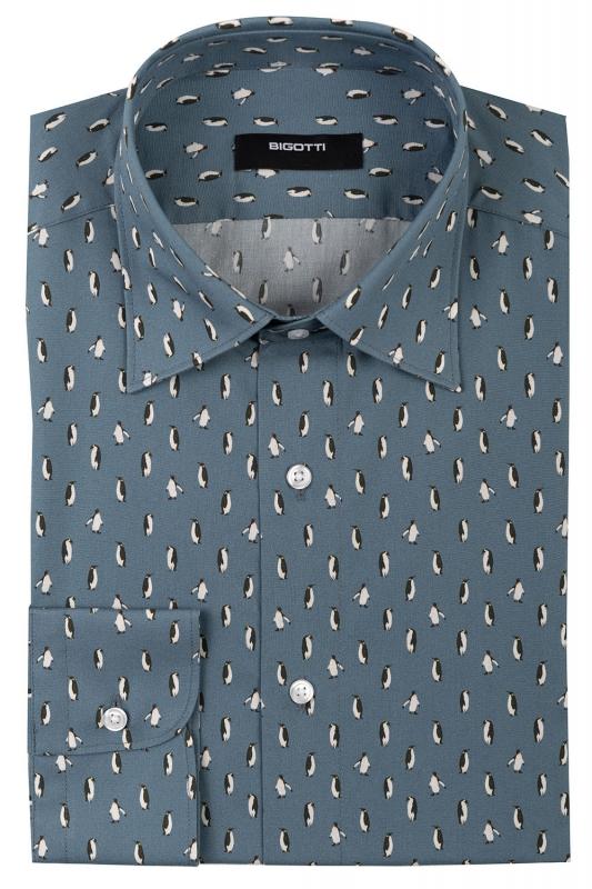 Shaped Grey Geometric Shirt