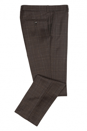 Superslim Brown Check Trouser