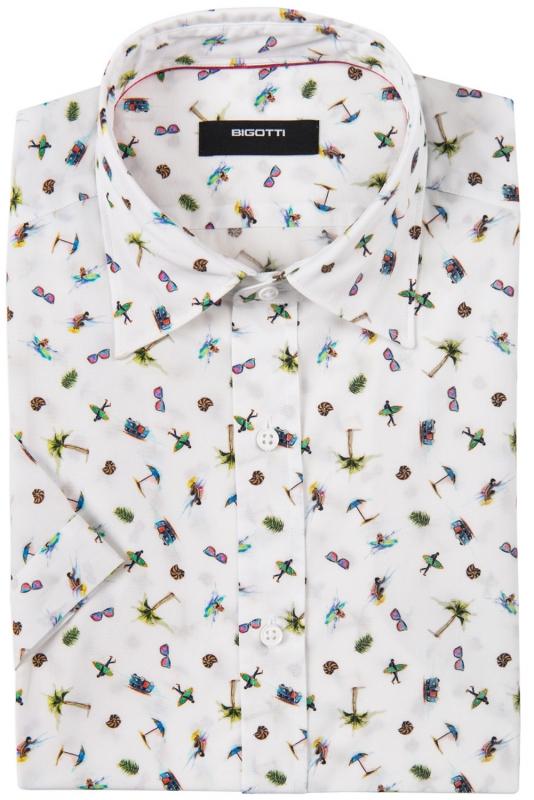 Slim White Plaja Shirt