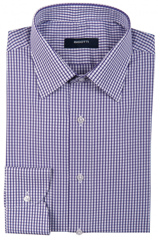 Shaped White Check Shirt