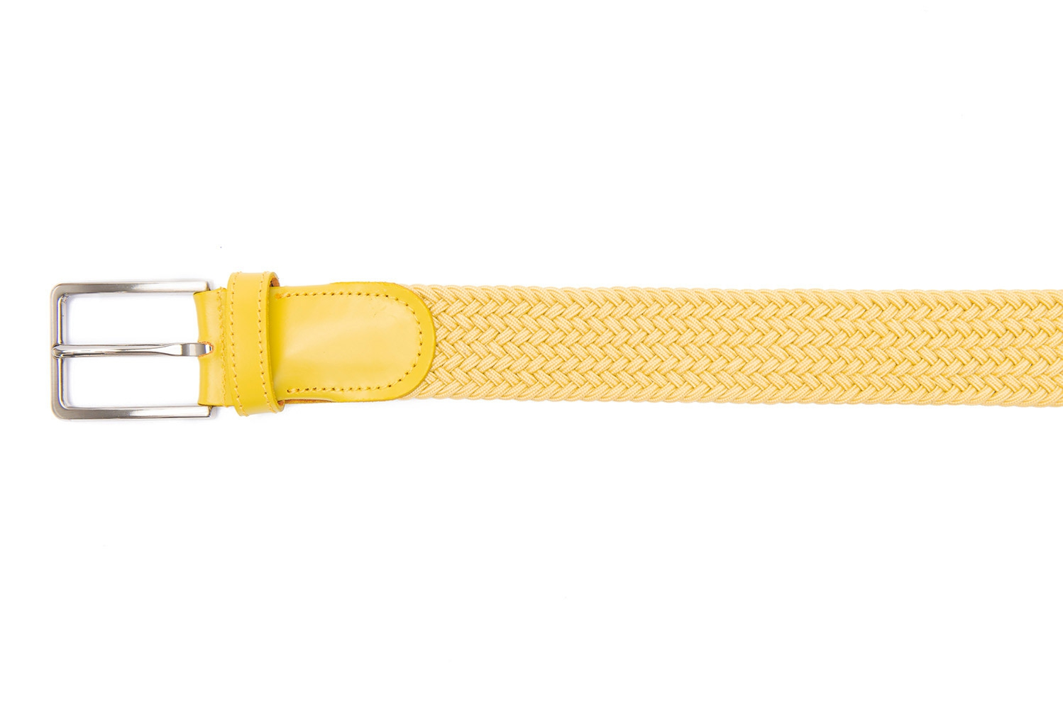 Belt Yellow Elastic textile and leather 1