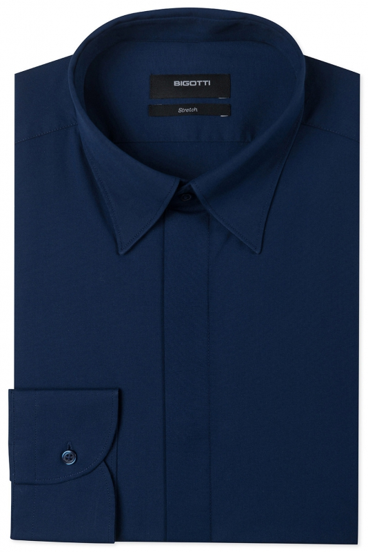 Slim Navy Plain Shirt