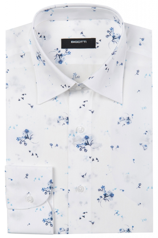 Shaped White Floral Shirt