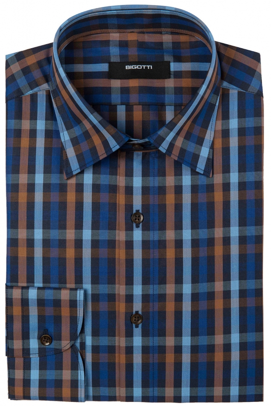Shaped Navy Check Shirt