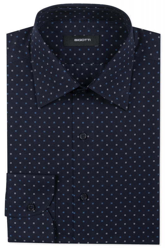 Slim Navy Geometric Shirt