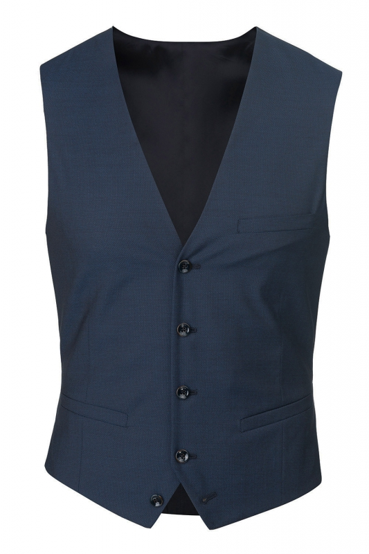 With buttons Blue Plain Waistcoat