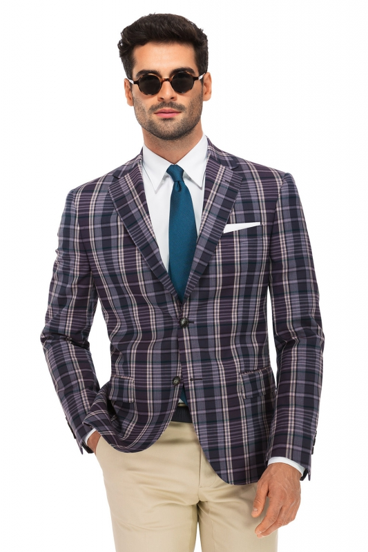 Slim Purple Check Blazer