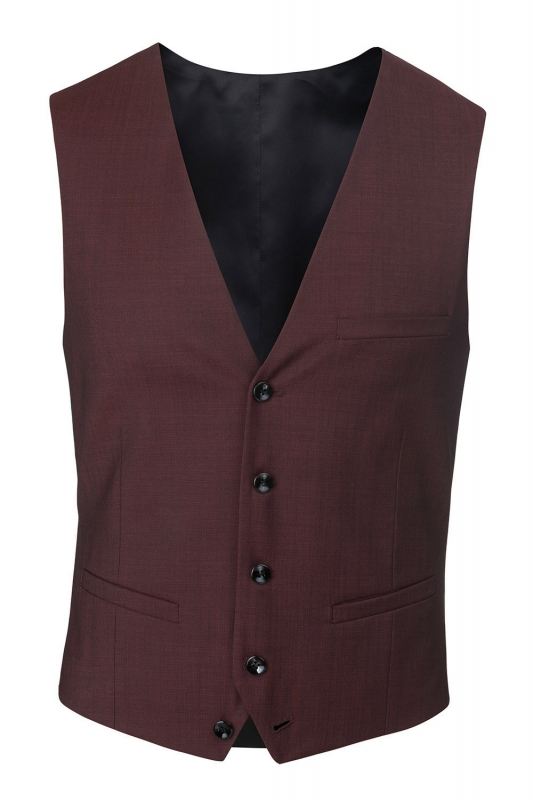 With buttons Burgundy Plain Waistcoat