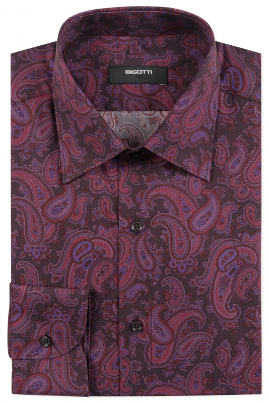 Slim Burgundy Floral Shirt