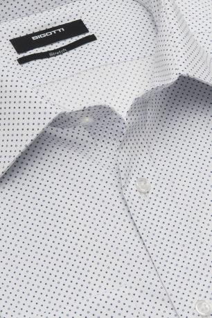 Slim White Geometric Shirt