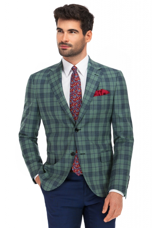 Slim Green Check Blazer