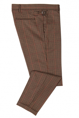 Slim Orange Check Trouser