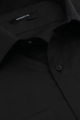 Shaped Black Plain Shirt