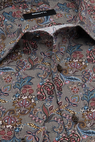 Shaped Beige Floral Shirt