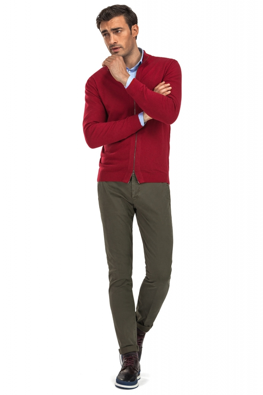 Slim Olive Plain Trouser