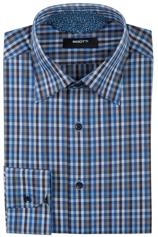 Slim Blue Check Shirt
