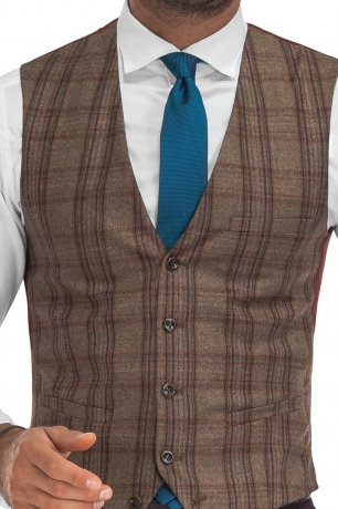 With buttons Brown Check Waistcoat