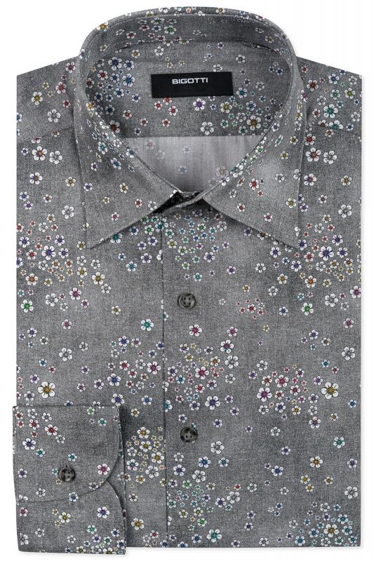 Superslim Grey Floral Shirt