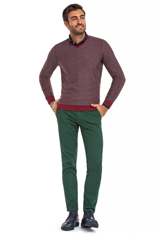 Regular Green Plain Trouser
