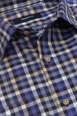 Shaped Multi-colored Check Shirt