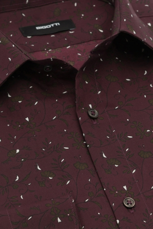 Superslim Burgundy Floral Shirt