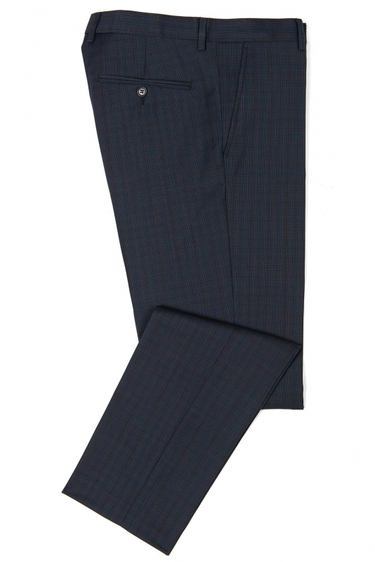 Slim Navy Check Trouser