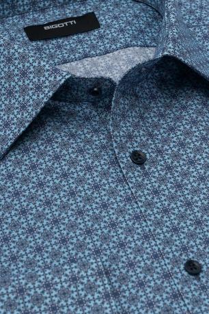 Superslim Light blue Floral Shirt
