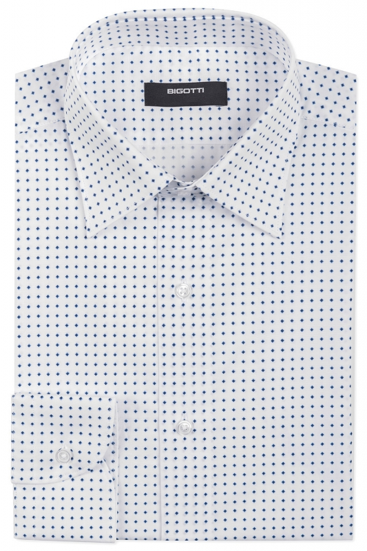 Shaped White Geometric Shirt