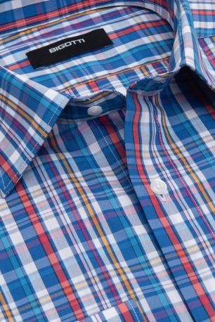 Slim Blue Check Shirt