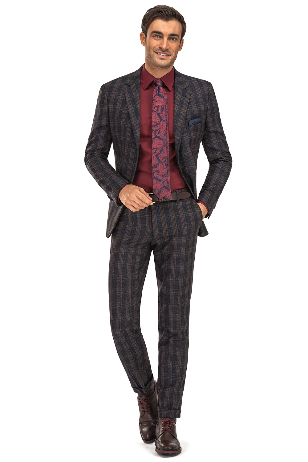 Slim Navy Check Suit 0