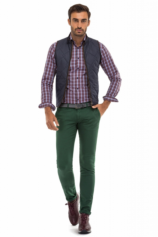 Superslim Green Plain Trouser