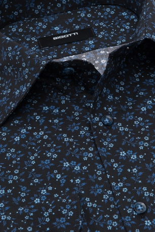 Slim Black Floral Shirt