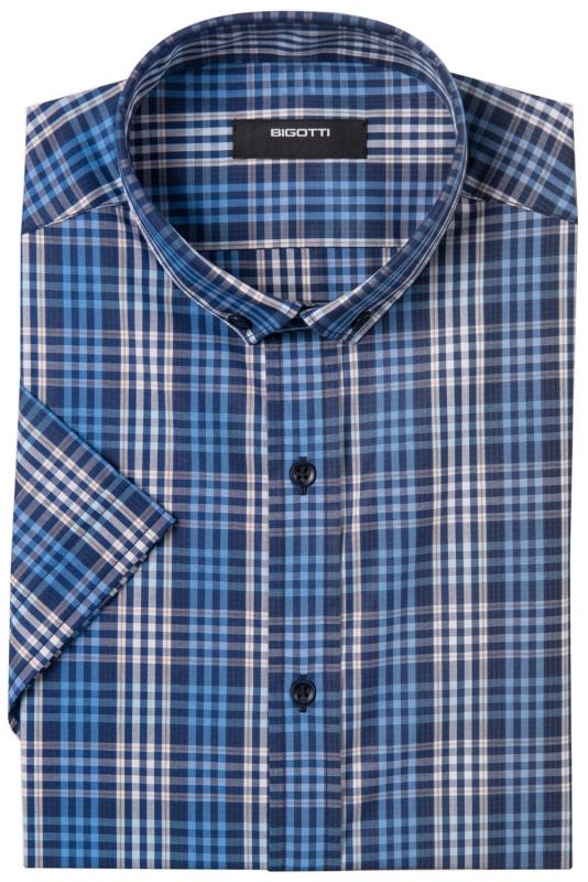Slim Navy Check Shirt