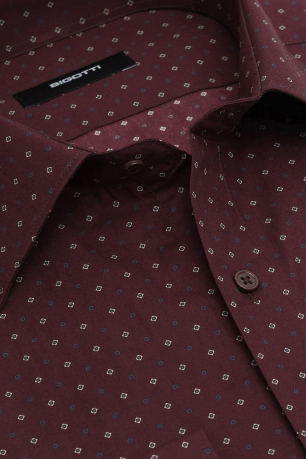 Slim Burgundy Geometric Shirt