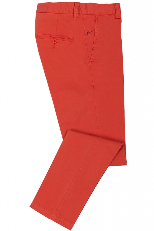 Slim Red Plain Trouser