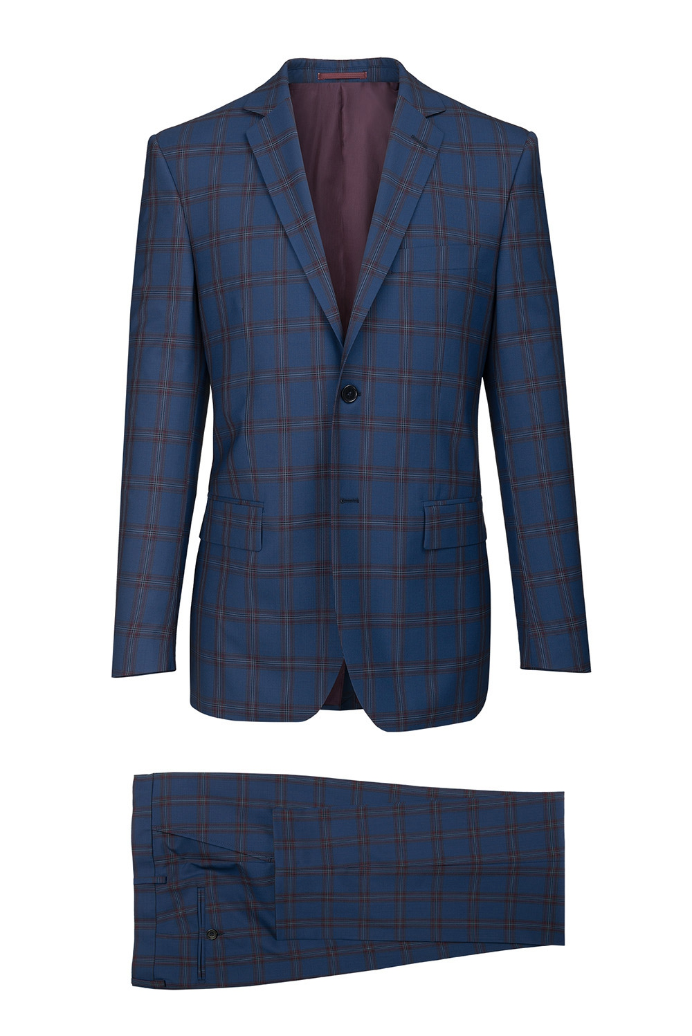 Slim Blue Check Suit 2