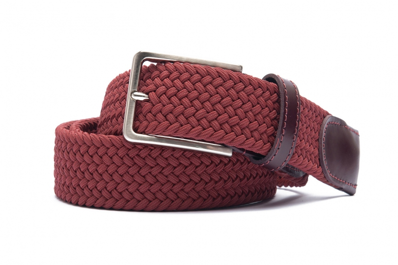 Belt Burgundy Elastic textile and leather