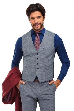 With buttons Light blue Check Waistcoat