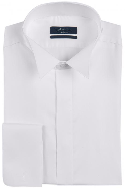 Shaped White Plain Shirt