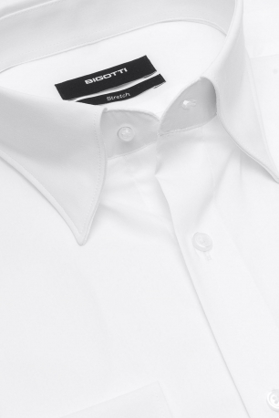 Shaped White Plain Shirt