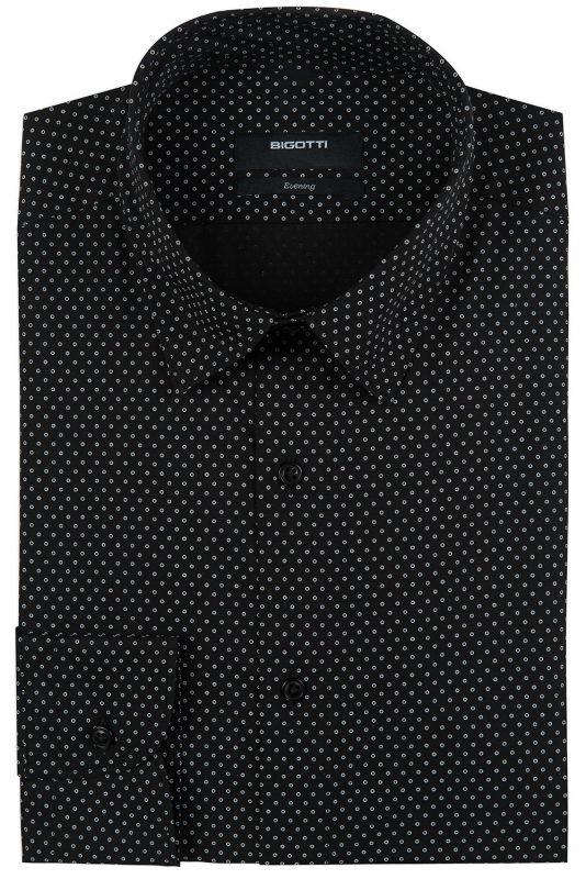 Superslim Black Geometric Shirt