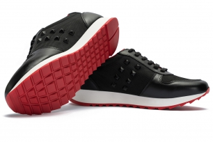 Black Leather and textile Shoes
