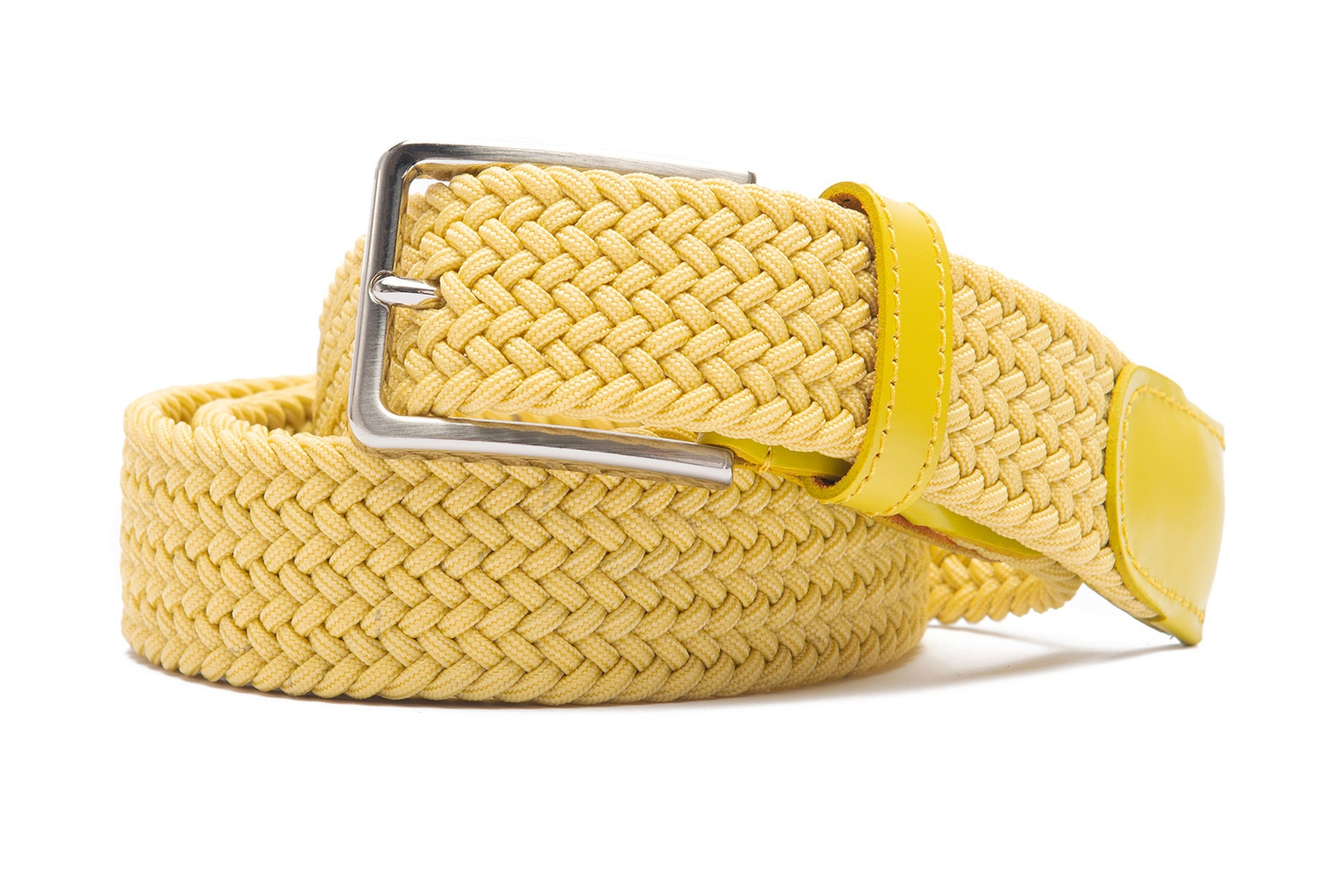 Belt Yellow Elastic textile and leather 0