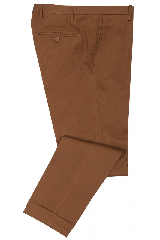 Slim Brown Plain Trouser