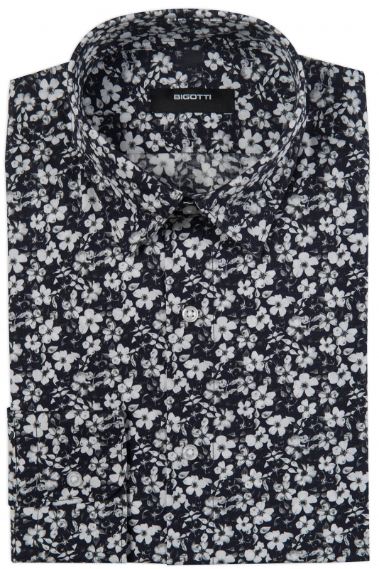 Superslim Navy Floral Shirt